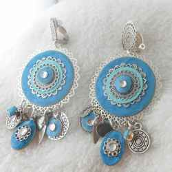 Boucle d'oreille clip Babylone turquoise