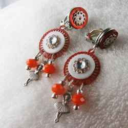 boucles d'oreilles clips Ballerine Orange