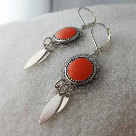 Boucle d'oreille Arizona orange