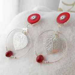 Boucles d'oreilles clips arabesques rouges