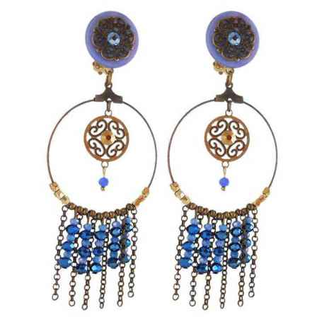 Boucles d'oreeuilles clips dream bleu