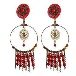 "Boucles d'oreilles clips ""Dream"" rouge"