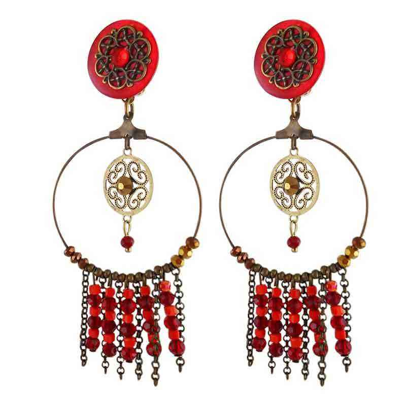 Boucles d'oreilles clip dream rouges