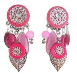 Boucles d'oreilles clips Spring Leaves Rose