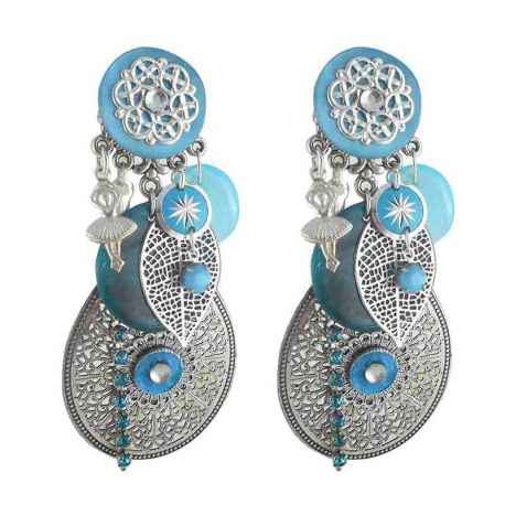 boucle d 39 oreille clip riad turquoise clipchic com. Black Bedroom Furniture Sets. Home Design Ideas