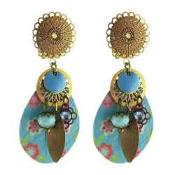 Boucles d'oreilles clips Peace and Love turquoises