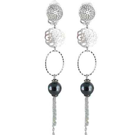 boucle d'oreille clip pagode onyx