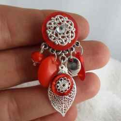 "Boucles d'oreilles clips ""Spring Leaves orange"""
