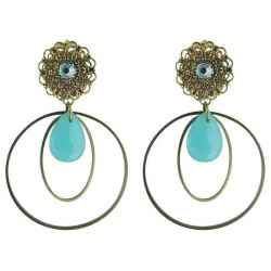Boucle d'oreille clip Syracuse turquoise