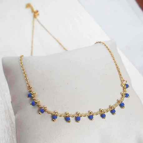 Collier Plaqué Or Perles Bleues