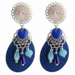 Boucles d'oreilles clips Peace and Love bleu