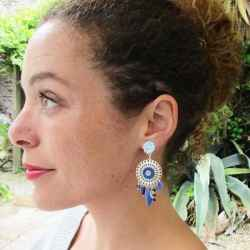 Boucles d'oreilles a clips Catch Dreamer bleues