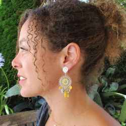 Boucles d'oreilles a clips Catch Dreamer jaunes