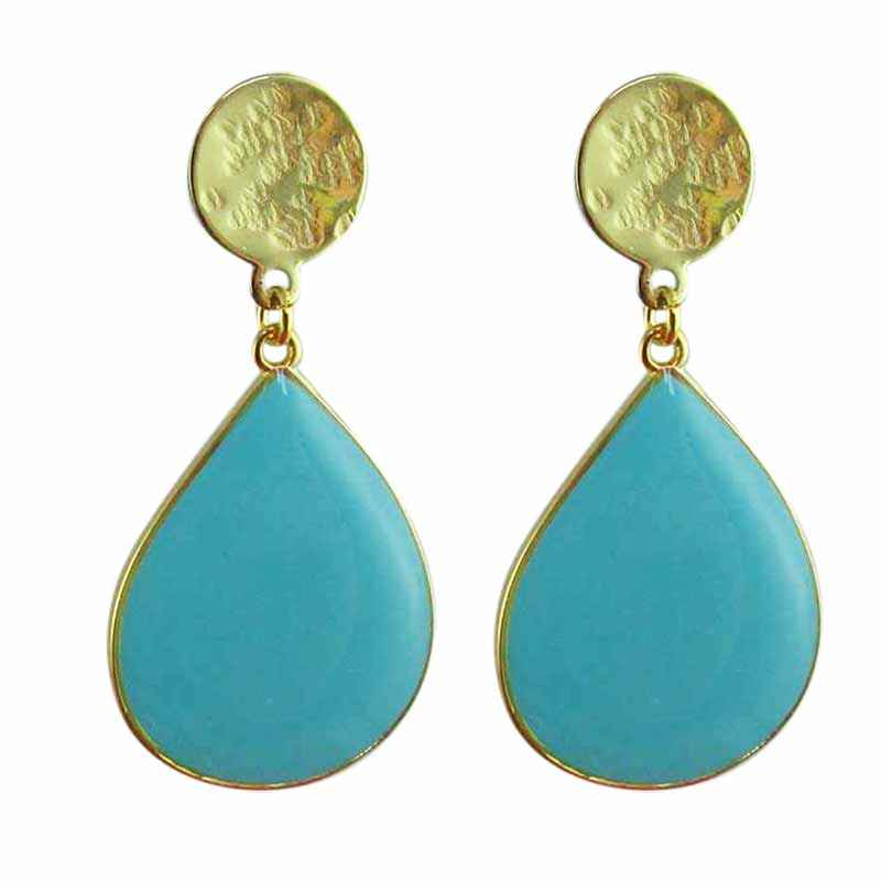 Boucle clip goutte or turquoise