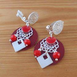 Boucle d'oreille clip Heaven rouge