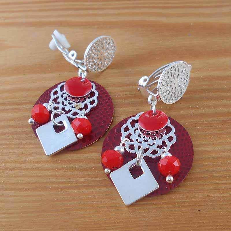 boucle d'oreille clip rouge