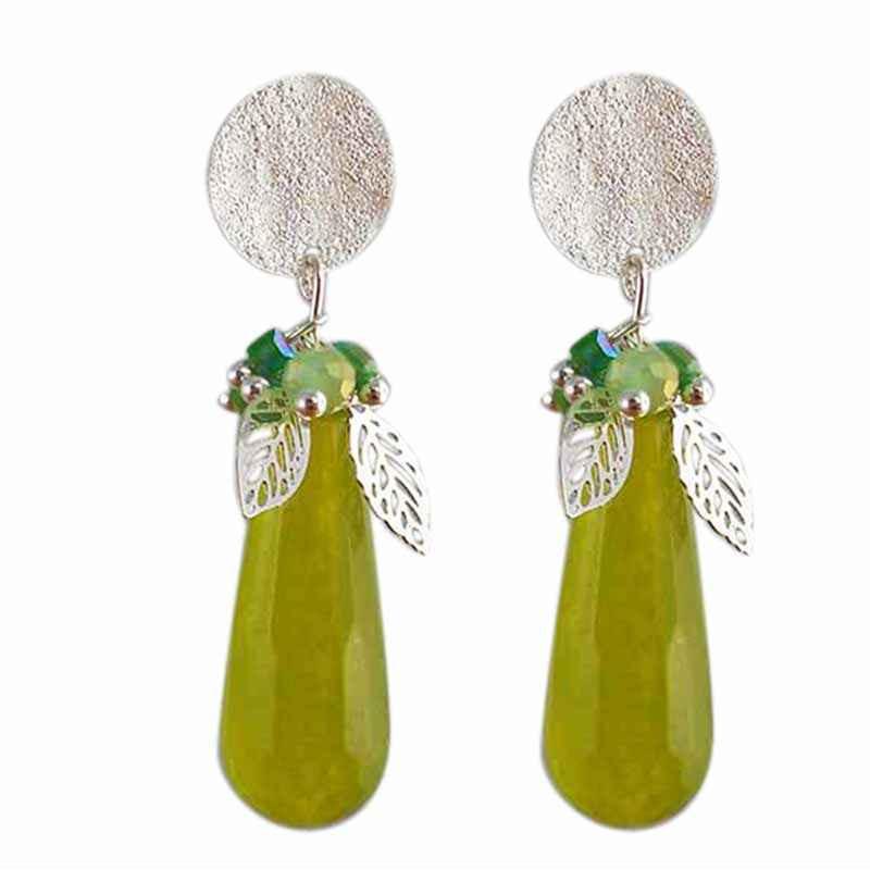 Boucle d'oreille clip jade verte argenté