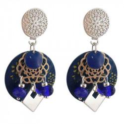 Boucles d'oreilles clips Heaven bleues