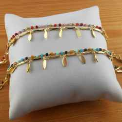 Bracelet plaqué or multicolore